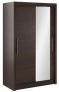 Šatníková skriňa Lisbeth I s posuvnými dverami a zrkadlom - čokoláda/wenge