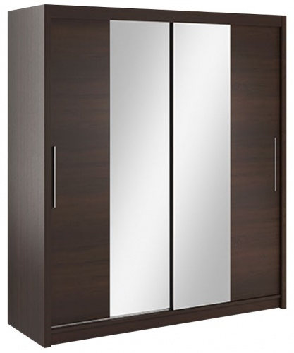 Šatníková skriňa Lisbeth II s posuvnými dverami a zrkadlom - čokoláda/wenge