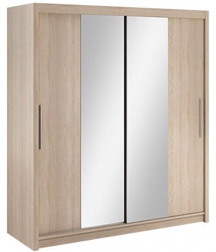 Šatníková skriňa Lisbeth II s posuvnými dverami a zrkadlom - dub sonoma