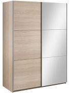 Šatníková skriňa Samanta s posuvnými dverami a zrkadlom - dub sonoma