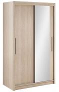 Šatníková skriňa Lisbeth I s posuvnými dverami a zrkadlom - dub sonoma