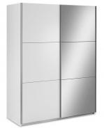 Šatníková skriňa Samanta s posuvnými dverami a zrkadlom - biela