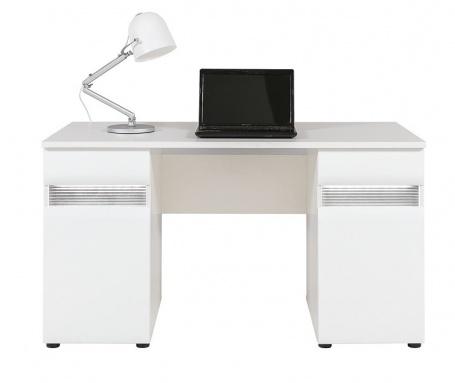 Písací stôl Neo s osvetlením - biela / betón