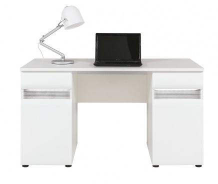 Písací stôl Neo s osvetlením - biela/betón