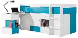 Detská posteľ s písacím stolom Moli - výber farieb