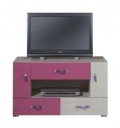 Televízny stolík Adela IX - jaseň/ružový