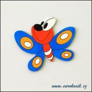 Dekorace na zeď motýl modrý 30cm
