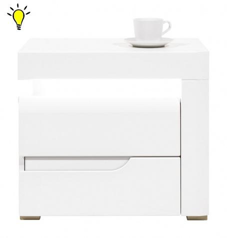 Nočný stolík Irma s osvetlením, pravý - biely
