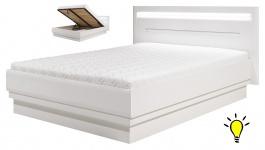 Moderná posteľ Irma 140x200cm s úložným priestorom a osvetlením - biela