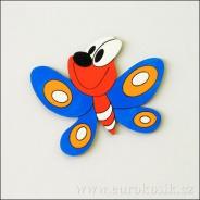 Dekorace na zeď motýl modrý 20 cm