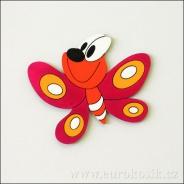 Dekorace na zeď motýl červený 20 cm