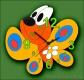 Dětské hodiny nástěnné Motýl žlutý