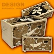 Dětská truhla na hračky Pirátská - překližka