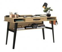 Veľký industriálny písací stôl Gamora - dub zlatý/čierna