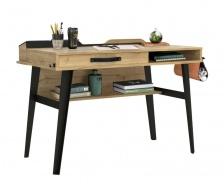 Malý industrialny písací stôl Gamora - dub zlatý/čierna