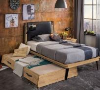 Detská posteľ 100x200cm Gamora s prístelkou - dub zlatý/čierna