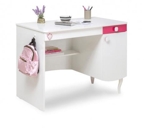 Detský písací stôl Rosie II - biela / rubínová
