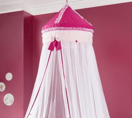 Nebesia nad posteľ Rosie - ružová / biela