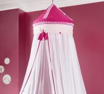 Nebesia nad posteľ Rosie - ružová/biela