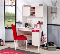 Detský písací stôl Rosie II s nadstavcom - biela/rubínová