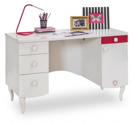 Detský písací stôl Rosie I - biela / rubínová