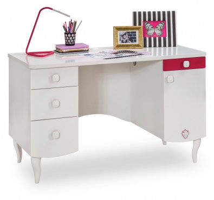 Detský písací stôl Rosie I - biela/rubínová