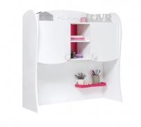 Nadstavec nad písací stôl Rosie II - biela/rubínová