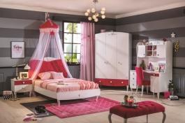 Dievčenská izba Rosie - biela/rubínová