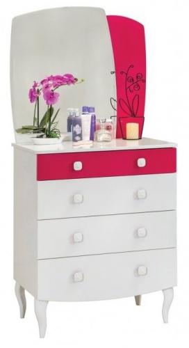 Detská zásuvková komoda Rosie so zrkadlom - biela / rubínová