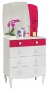 Detská zásuvková komoda Rosie so zrkadlom - biela/rubínová