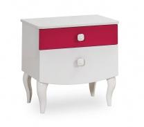 Detský nočný stolík Rosie - biela/rubínová