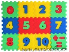 Penové puzzle koberec - čísla, 12 dielikov
