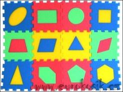 Penové puzzle koberec geometrické obrazce, 12 dielikov