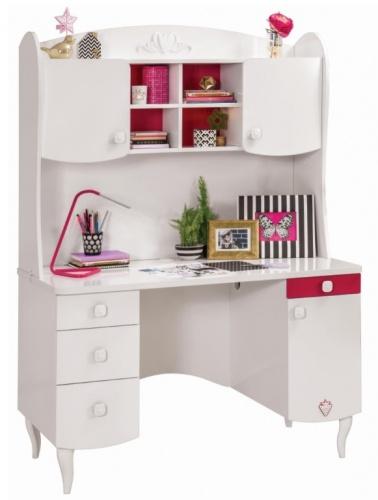 Detský písací stôl Rosie I s nadstavcom - biela / rubínová