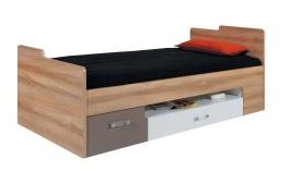 Detská posteľ s úložným priestorom Anabel - brest/biela lux/cappucino