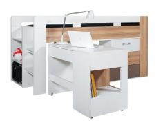 Detská vyvýšená posteľ s písacím stolom Anabel - brest/biela lux/cappucino