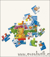 Dřevěné puzzle medvěd s myškou Oli