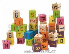 Stavebnice barevné dřevěné kostky s čísly a písmeny, 40 dílů