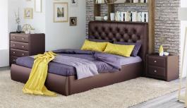 Čalúnená posteľ s úložným priestorom BEATRICE 180x200 - hnedá