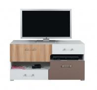 Televízny stolík Anabel 11 - brest/biela lux/cappucino