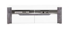 Televízny stolík Brando - biela / betón / biely lesk