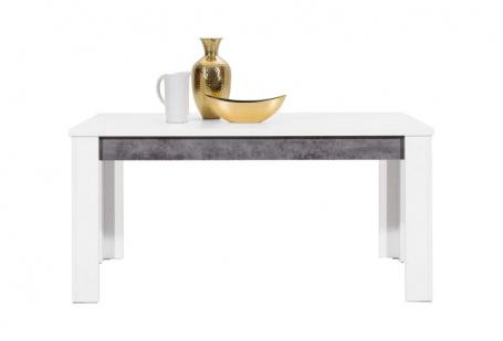 Jedálenský stôl s rozkladaním Brando - biela / betón - zložený