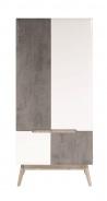 Šatníková skriňa Scandic - biela / betón
