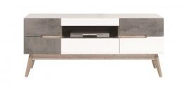 Televízny stolík Scandic - biela / betón