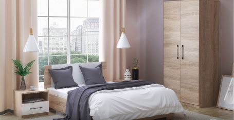 Spálňa AVRORA 1 s posteľou 90x200 cm - dub sonoma / biela
