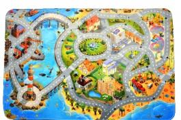 Detský koberec 3D ultra soft Mesto s plážou - 130 x 180cm