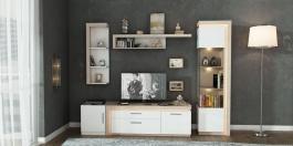 Moderná obývacia stena NEON - dub sanremo / biela