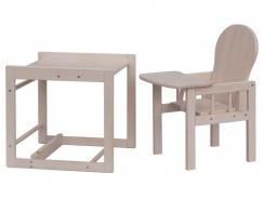 Dětská jídelní židle kombi- masiv borovice - bílá (bělená)