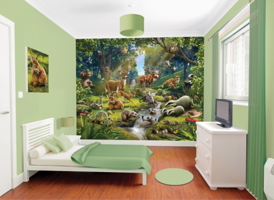 Dětská 3D tapeta na zeď - zvířatka z lesa