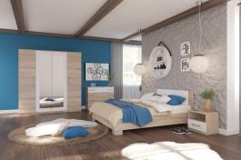 Spálňa AVRORA, s posteľou 160x200cm - dub sonoma / biela